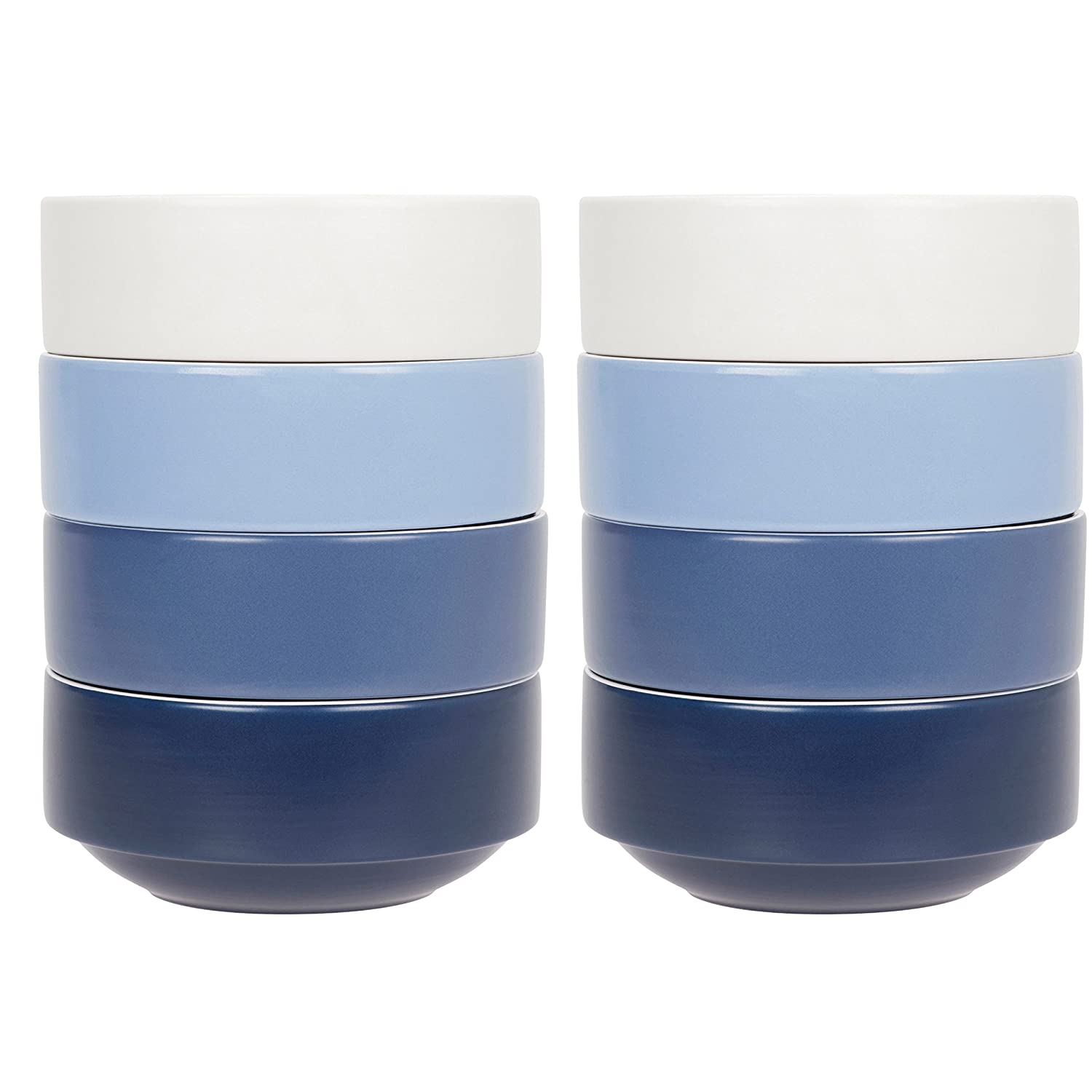 Compact Living Dinnerware - Set of 8 Stackable Bowls - 2 White, 2 Light Blue, 2 Mid and 2 Dark Blue - - 15.2 cm / 6 in