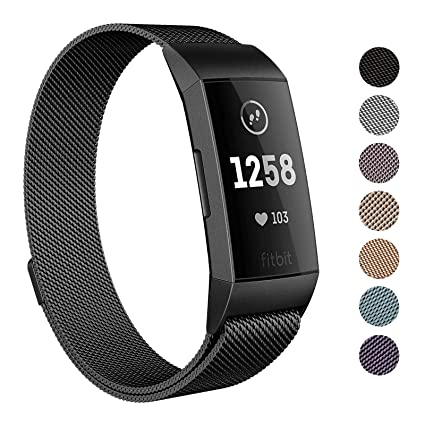 SWEES Metal Bands Compatible Fitbit Charge 3 and Charge 3 SE, Milanese  Stainless Steel Magnetic Small (5 5