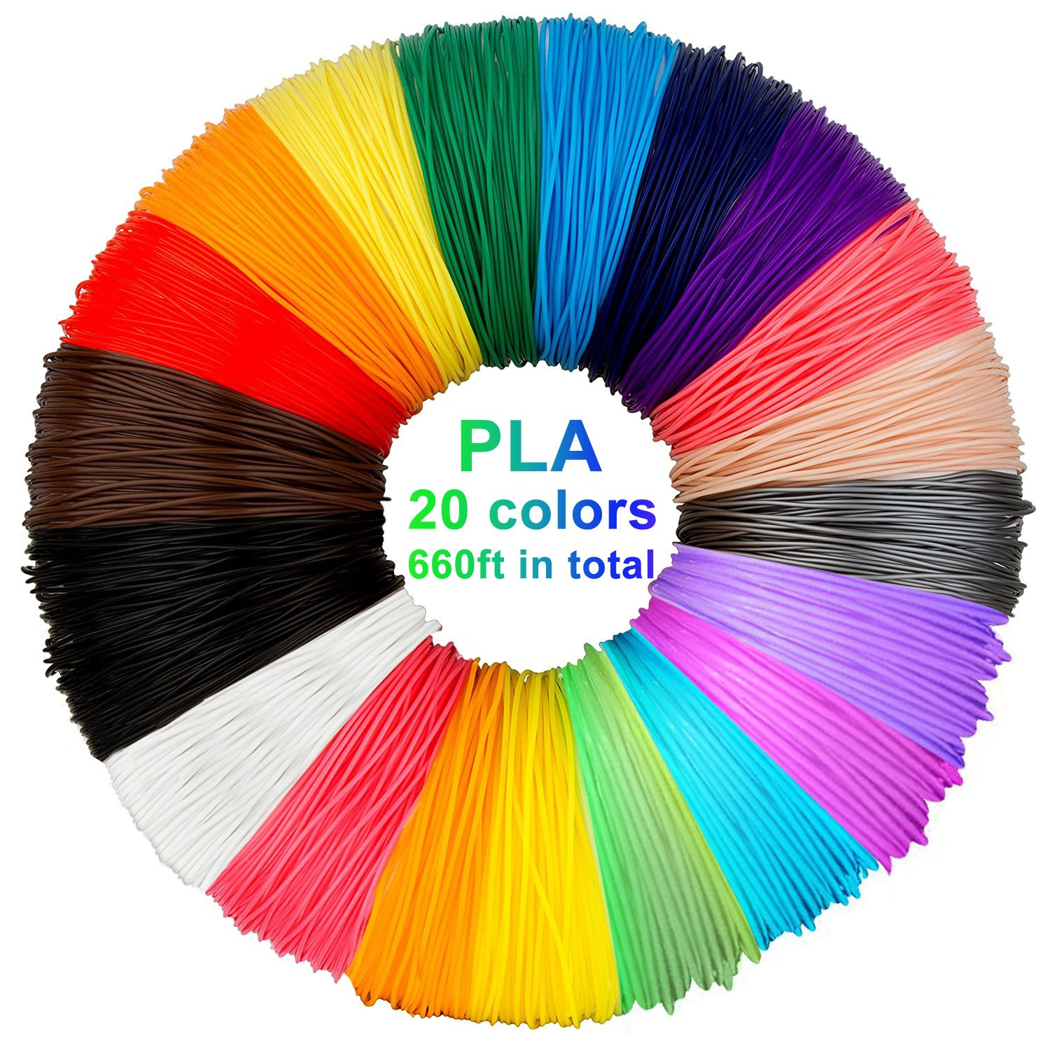 20 colours Stylo 3D filament refills PLA 1.75 mm thickness 5 meter each