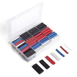 Wirefy 275 PCS Heat Shrink Tubing Kit - 3:1 Dual Wall Tube - Adhesive Lined - Marine Shrink Tubing - Black, Red, White, Clear, Blue