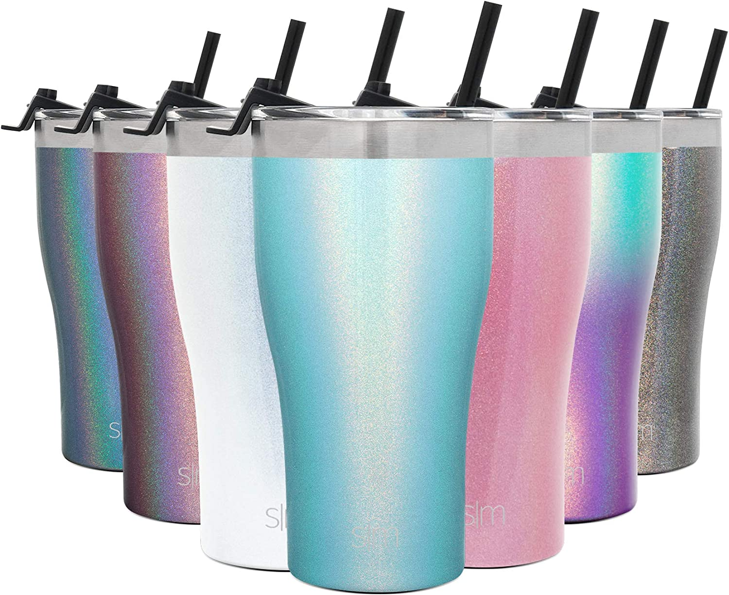 Simple Modern 22oz Slim Cruiser Tumbler with Straw & Closing Lid Travel Mug - Gift Double Wall Vacuum Insulated - 18/8 Stainless Steel Water Bottle Shimmer: Aqua Aura