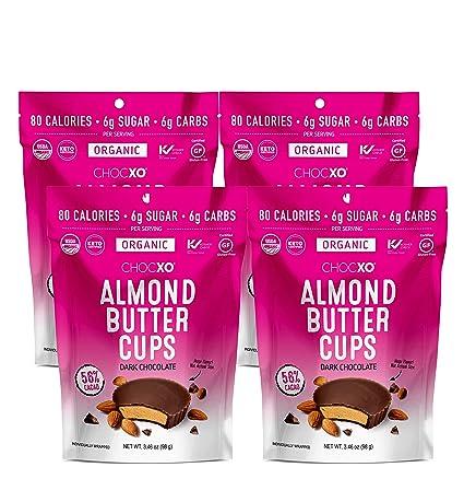 ChocXO Dark Chocolate Almond Butter Cups | Keto Certified, USDA Organic, Low Sugar, Certified Gluten Free and Kosher, 98 g (4-Pack)