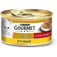 Purina Gourmet Gold Smeltende Kern Kattenvoer, Natvoer, voor Volwassen Katten, 12 Stuks Verpakking (12 x 85 g)