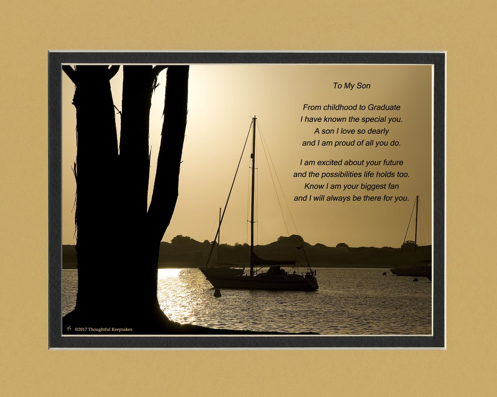 Graduation Gifts Son, Boats at Dusk Photo with From Childhood to Graduate Poem, 8x10 Double Matted. Special Keepsake for Son, Unique College and High School Grad Gifts for your Son.