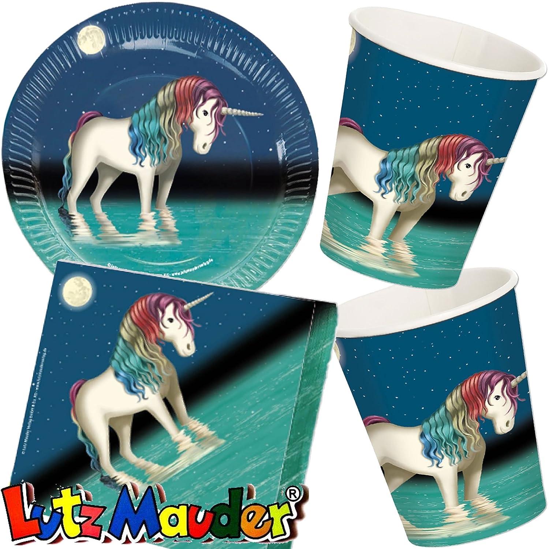 37 piezas Party * Unicornio luna Belle * con platos, vasos ...