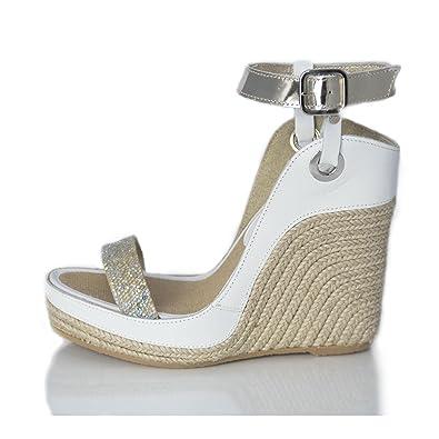MTBALI Sandalen Alpargata mit Keilabsatz Damen- Modell Nor White