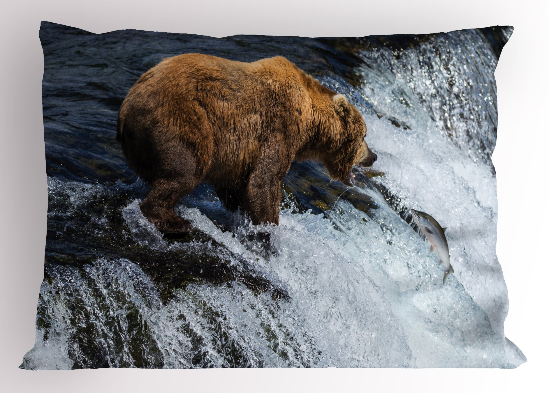 Lunarable National Parks Pillow Sham, Giant Bear in a Stream Alaskan Wildlife Fishing Animal Sealife Maritime, Decorative Standard Size Printed Pillowcase, 26 X 20 inches, Brown White