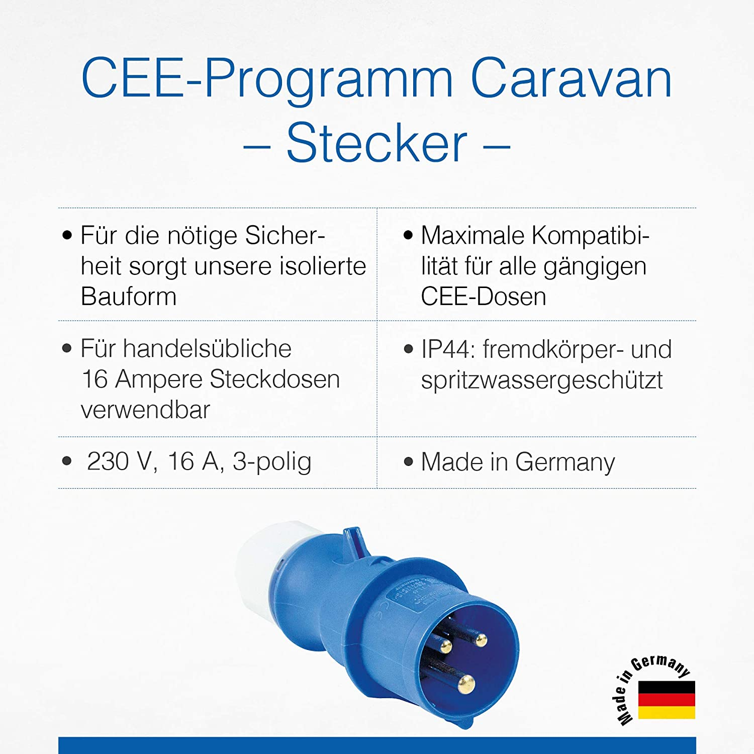 As Schwabe Cee Plug Caravan 230 V 16 A Camping Plug With Screw Connections Submersible Plug For Caravan And Motorhome Ideal For Outdoor Use Ip44 Made In Germany Blue I 60470 Baumarkt