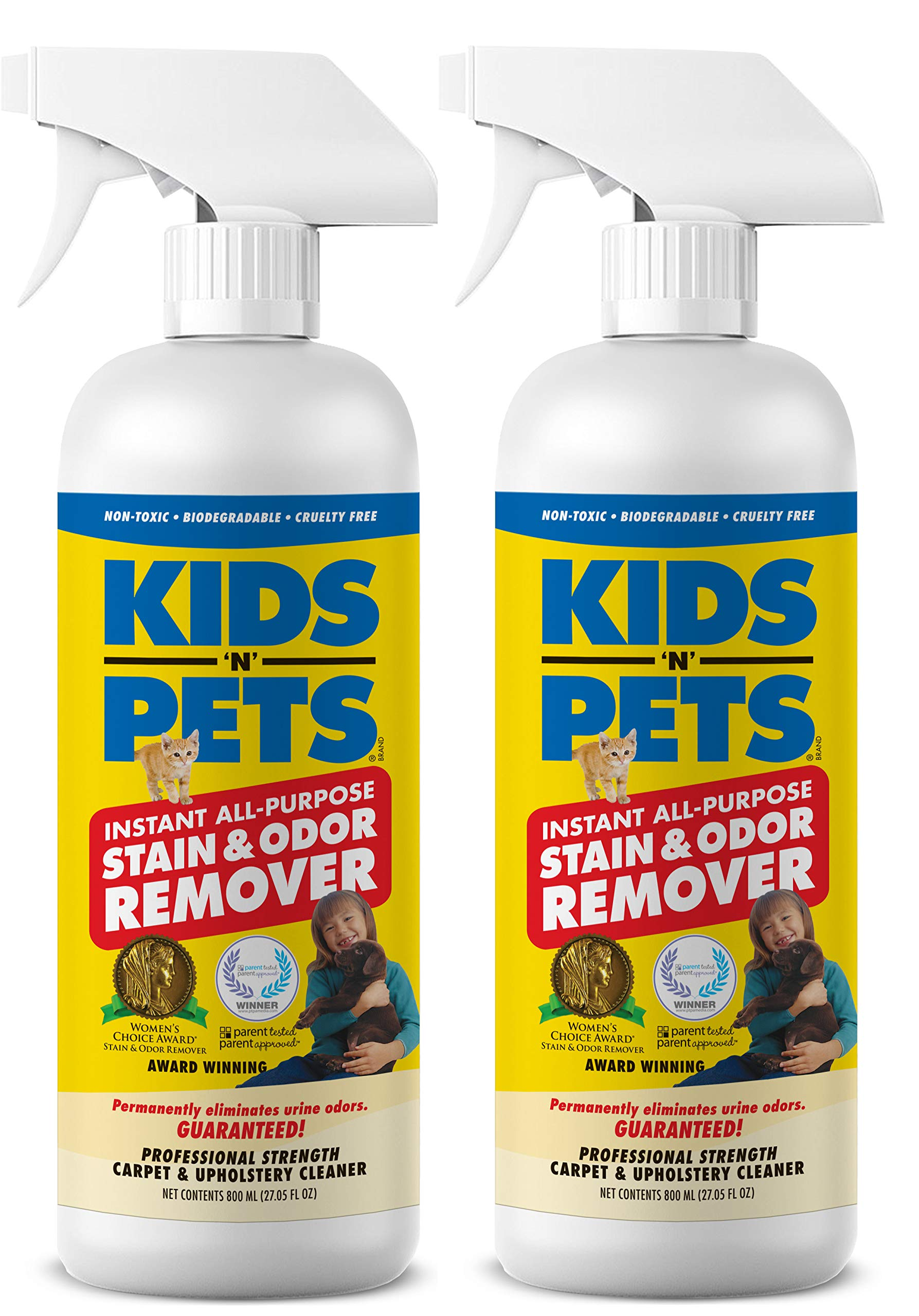 KIDS 'N' PETS - Instant All-Purpose Stain & Odor Remover - 27.05 oz - (800 ml) - Proprietary Formula Permanently Eliminates Tough Stains & Odors - Even Urine Odors - Non-Toxic & Child Safe by KIDS 'N' PETS