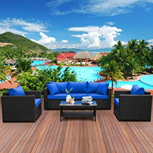 4 Pieces Patio PE Wicker Furniture Set Resin Rattan Outdoor Conversation Sofa Sets Sectional Couch with Table and Royal Blue Cushions