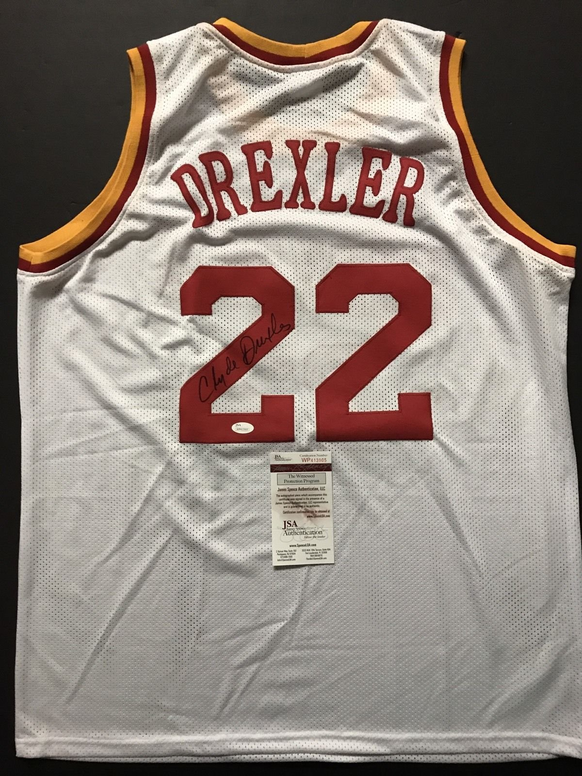 Autographed/Signed Clyde Drexler Houston White Basketball Jersey JSA COA
