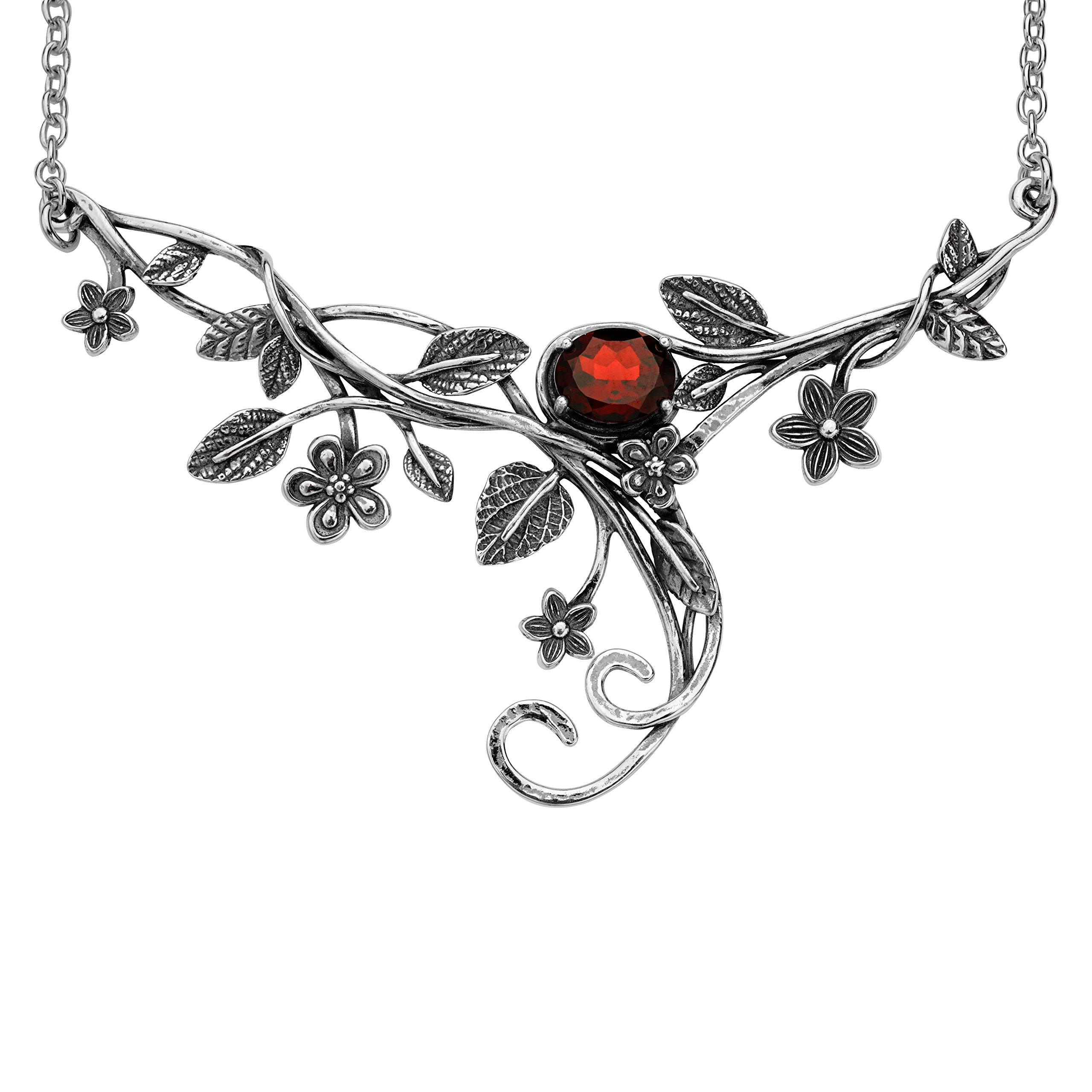 ♥925 Sterling Silver Garnet Floral Swirl Necklace by Paz Creations Fine Jewelry, Made in Israel by PZ (Image #2)
