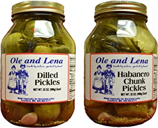 product image for Ole & Lena Pickled Preserves 32 ounce jars (2 Pack Variety)--Habanero Chunk Pickles, Dilled Pickles