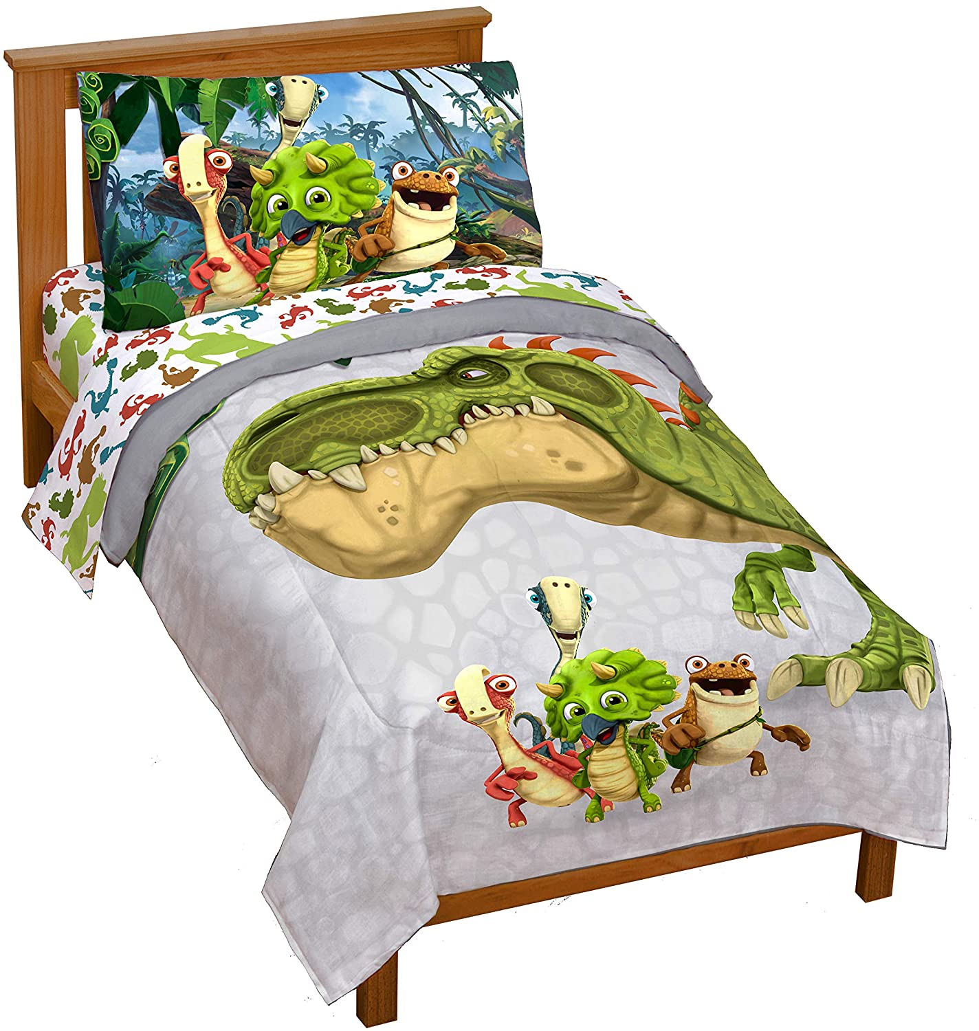 Amazon Com Jay Franco Gigantosaurus 4 Piece Toddler Bed Set Bed Set Includes Toddler Size Comforter Sheet Set Bedding Features Dinosaur Rocky Bill Tiny Mazu Official Gigantosaurus Product Home Kitchen