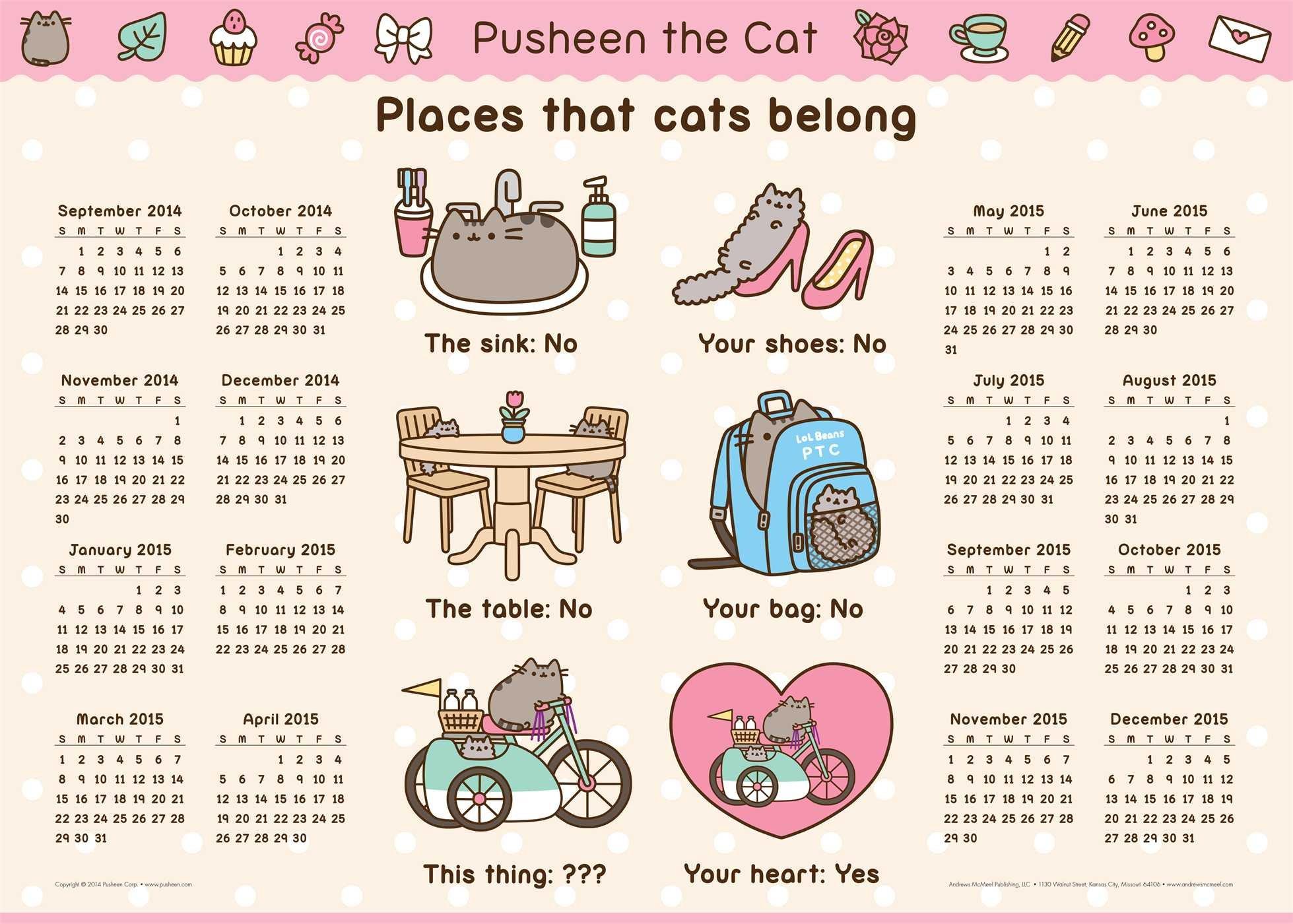 pusheen the cat 2014 15 16 month calendar poster claire belton 9781449458362 amazoncom books