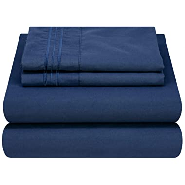 Mezzati Luxury Bed Sheet Set - Soft and Comfortable 1800 Prestige Collection - Brushed Microfiber Bedding (Blue, King Size)