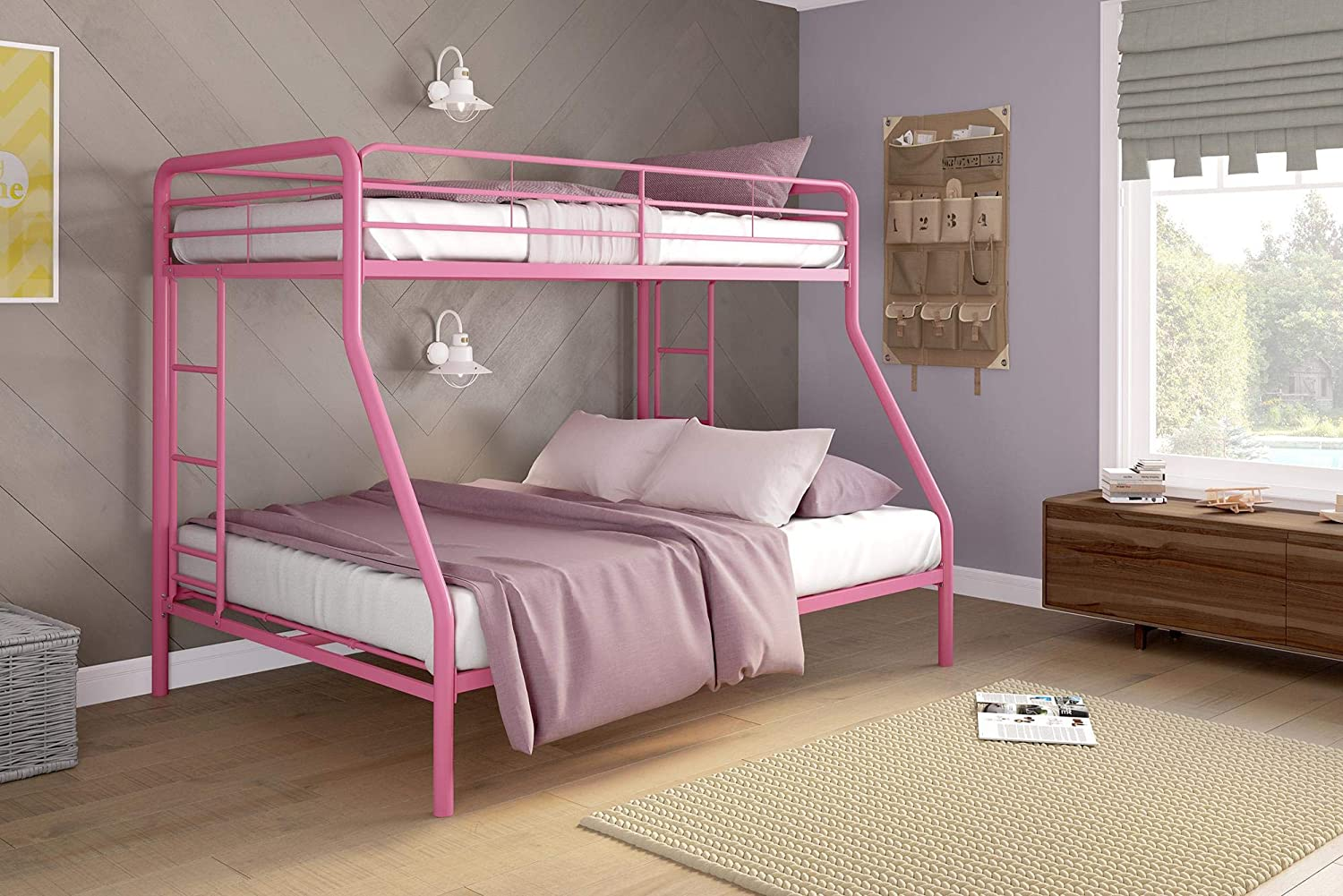 DHP Twin-Over-Full Bunk Bed with Metal Frame and Ladder, Space-Saving Design, Blue 5418196