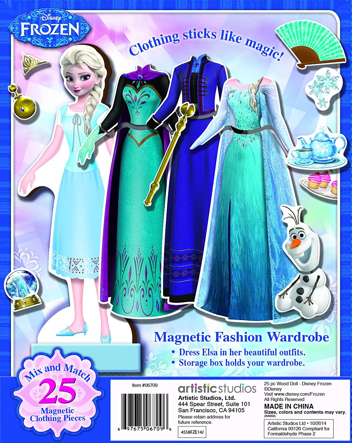 10-Pieces Bendon Disney Frozen 2 Magmatic Wooden Doll Dress-Up Kit