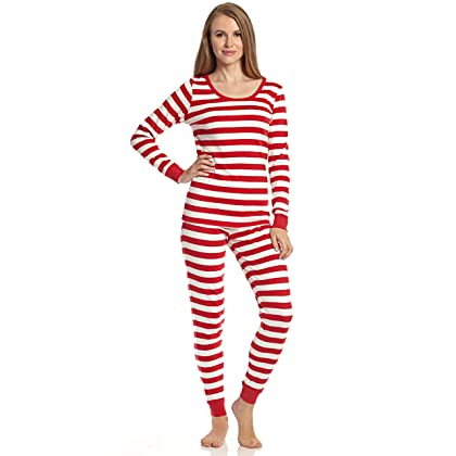 6b090b3864 Leveret Womens Pajamas Fitted Striped Christmas 2 Piece Pjs Set 100% Cotton  Sleep Pants (Red White Size X-Small)
