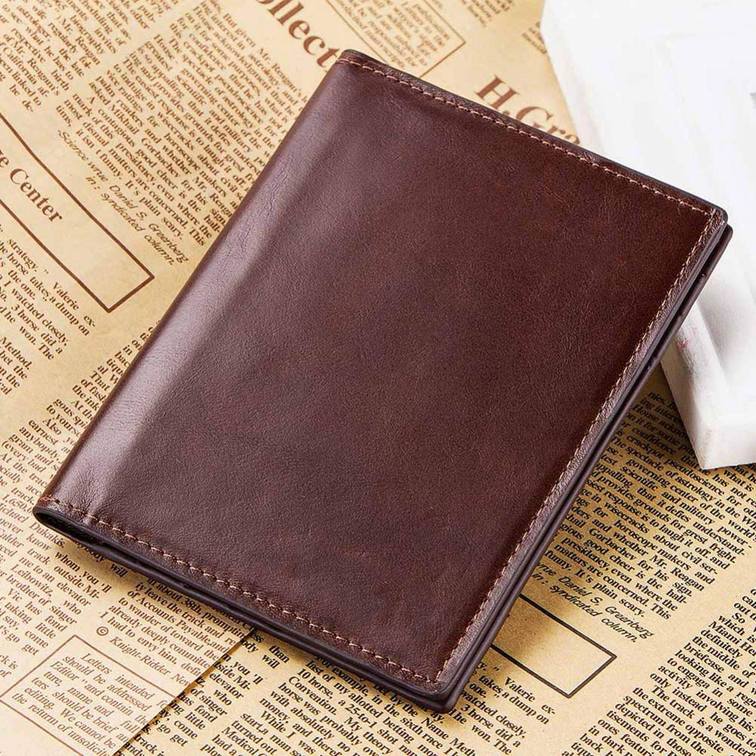 Leather Passport Cover ID Business Card Holder Travel Wallet for Men Purse Case Driving License Bag Thin,Coffee M Box
