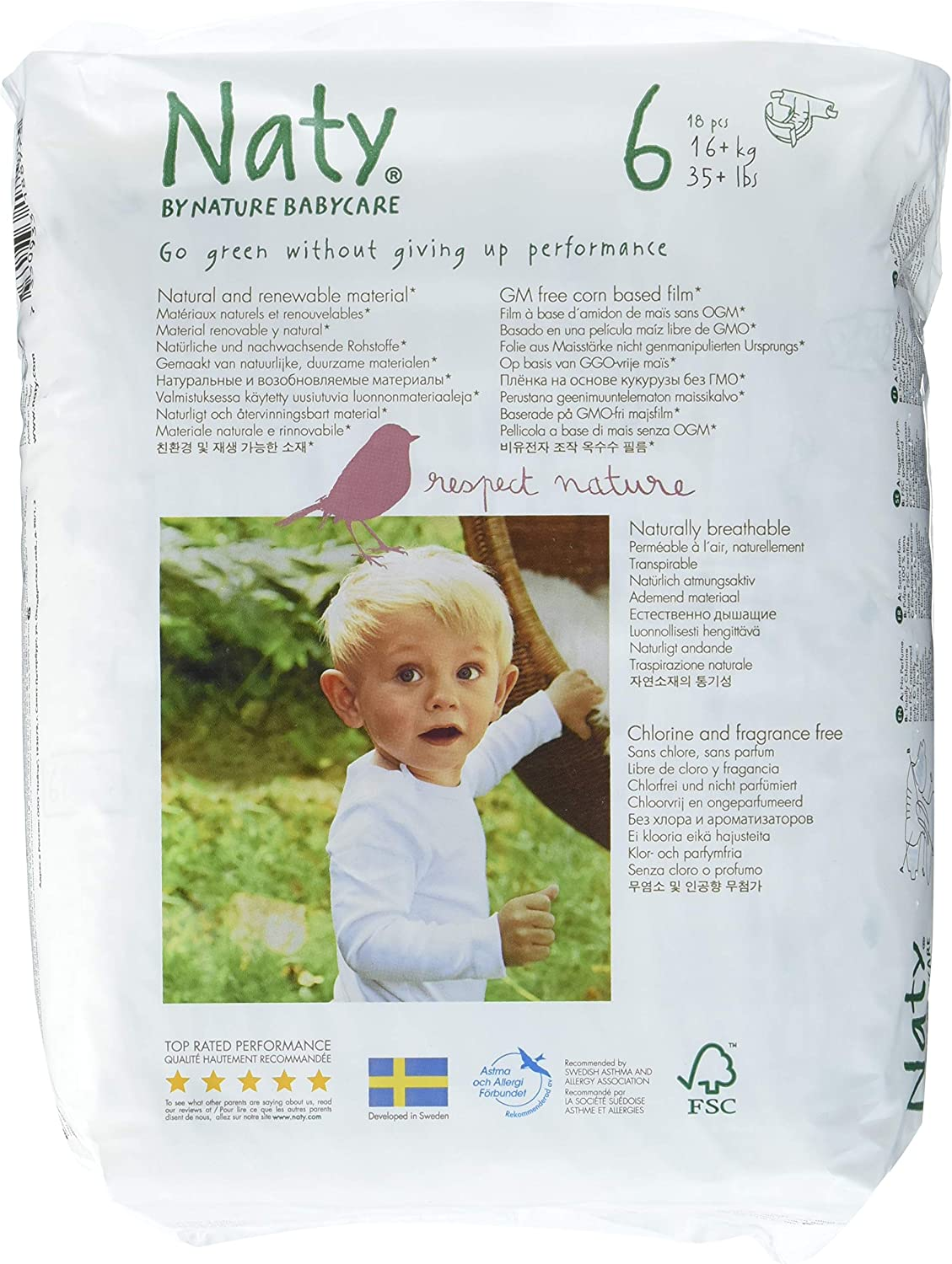 Eco by Naty Babycare 4 paquets de 18 Couches /Écologiques Jetables Taille 6-16 kg 72 couches