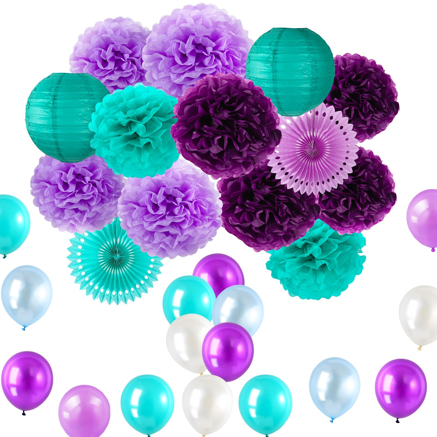 ZICA Little Mermaid Party Supplies And DecorationsMermaid Pom Poms Lanterns Fans Balloons Teal Tiffany Blue