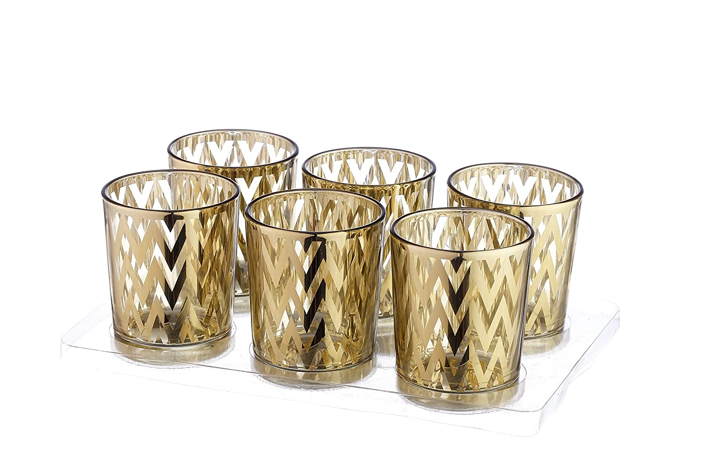 V-More Laser Cut Mercury Glass Votive Candle Holder Tealight Holder 2.55-inch Tall Set of 6 For Home Decor Wedding Party Celebration (Gold Star) V-More Inc. VM16040010-9