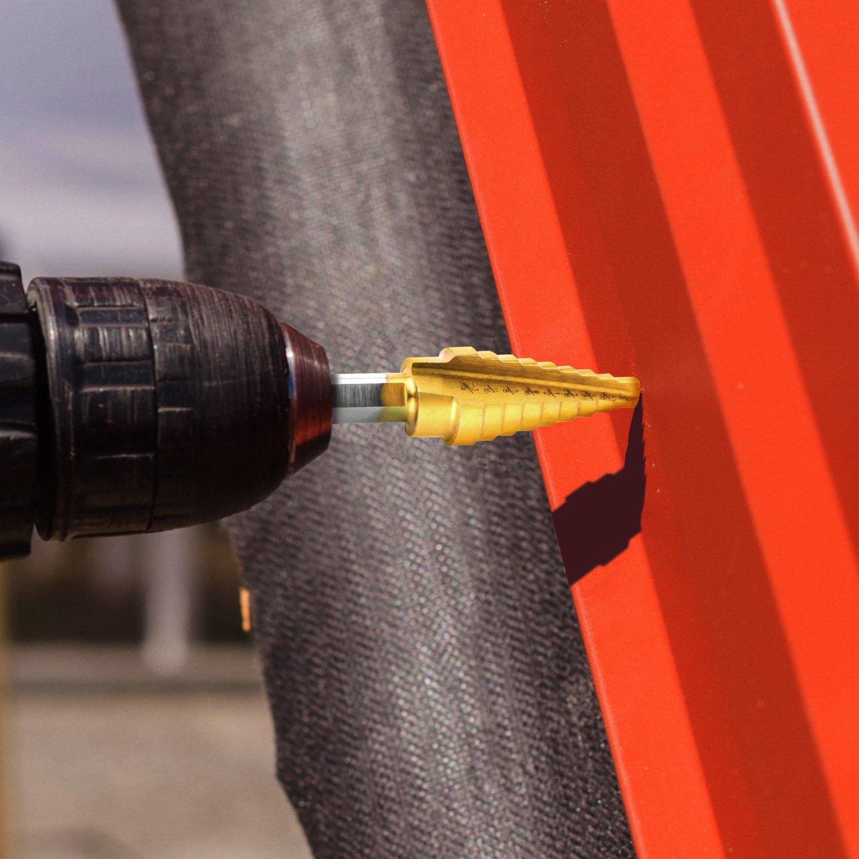 Step Foret Bits Fait en acier haute vitesse 4241 NC04 NOUVCOO Lot de 3 Titane /étape de forets /& Pointeau automatique