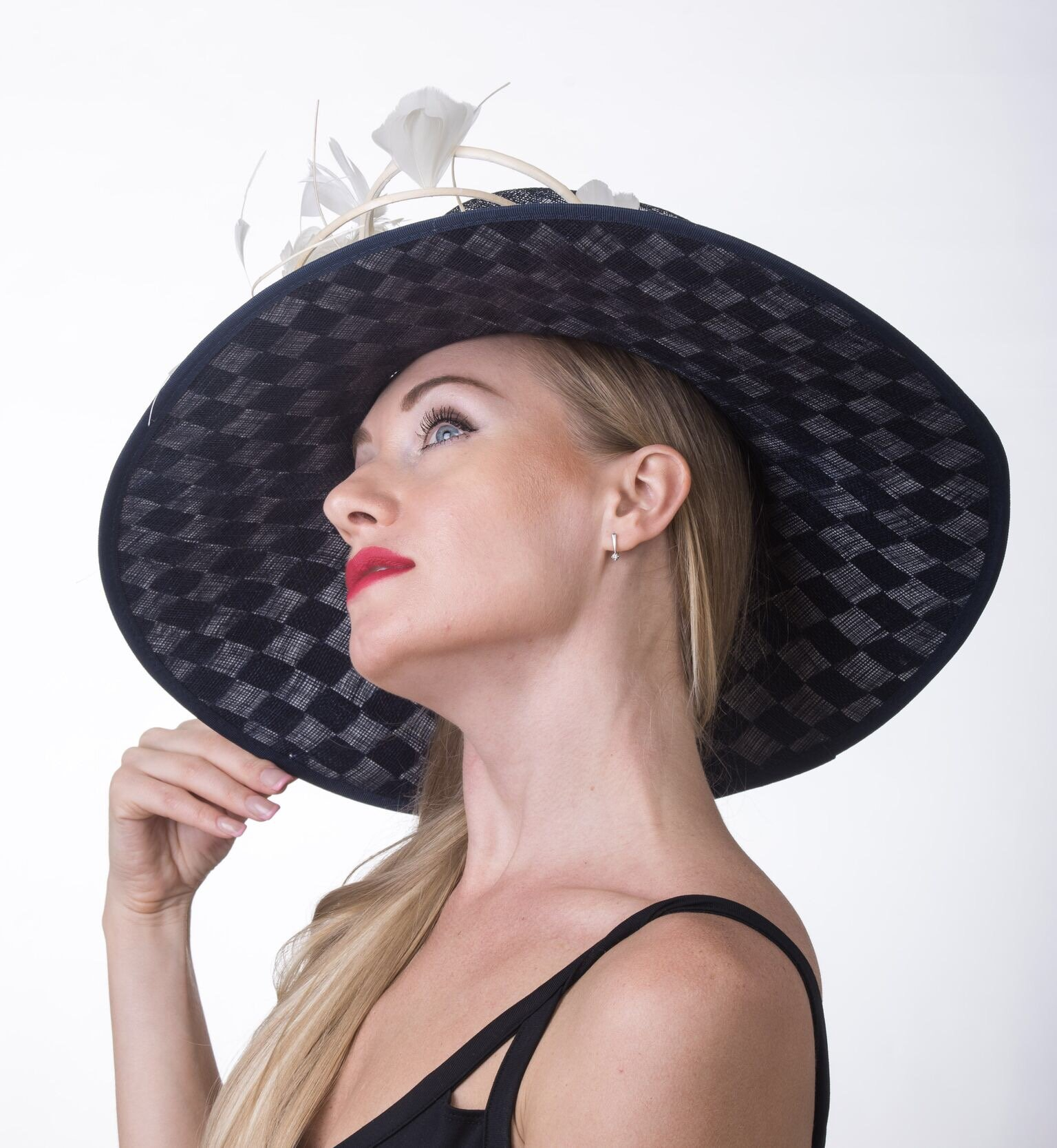 Gorgeous Wide Brim Sinamay Floral Feathers Derby Dress Hat Navy Blue w White by ray&daniel (Image #2)