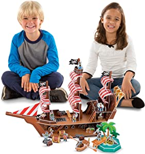 Melissa & Doug Pirate Ship 3-D Puzzle and Ship in One(100+ pcs, 21 x 16 x 5.25 inches, assembled)