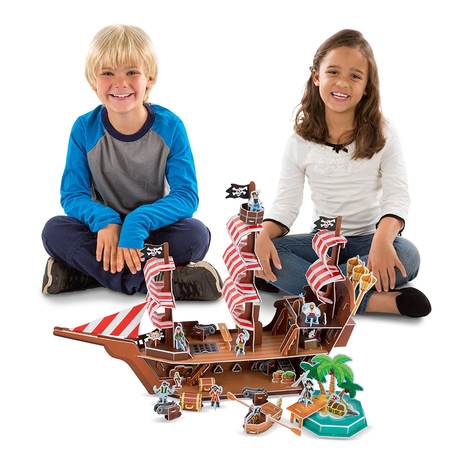 Melissa & Doug Pirate Ship 3-D Puzzle and Ship in One (100+ pcs, 21 x 16 x 5.25 inches, assembled) Melissa and Doug 9045