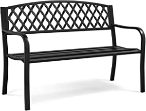 Yaheetech Garden Bench Patio Park Bench, Cast Iron Steel Frame Porch Bench, Outdoor Yard Furniture with Mesh Pattern and Armrests for Lawn, Deck, Work, Path, Backyard, Entryway Clearance - Black