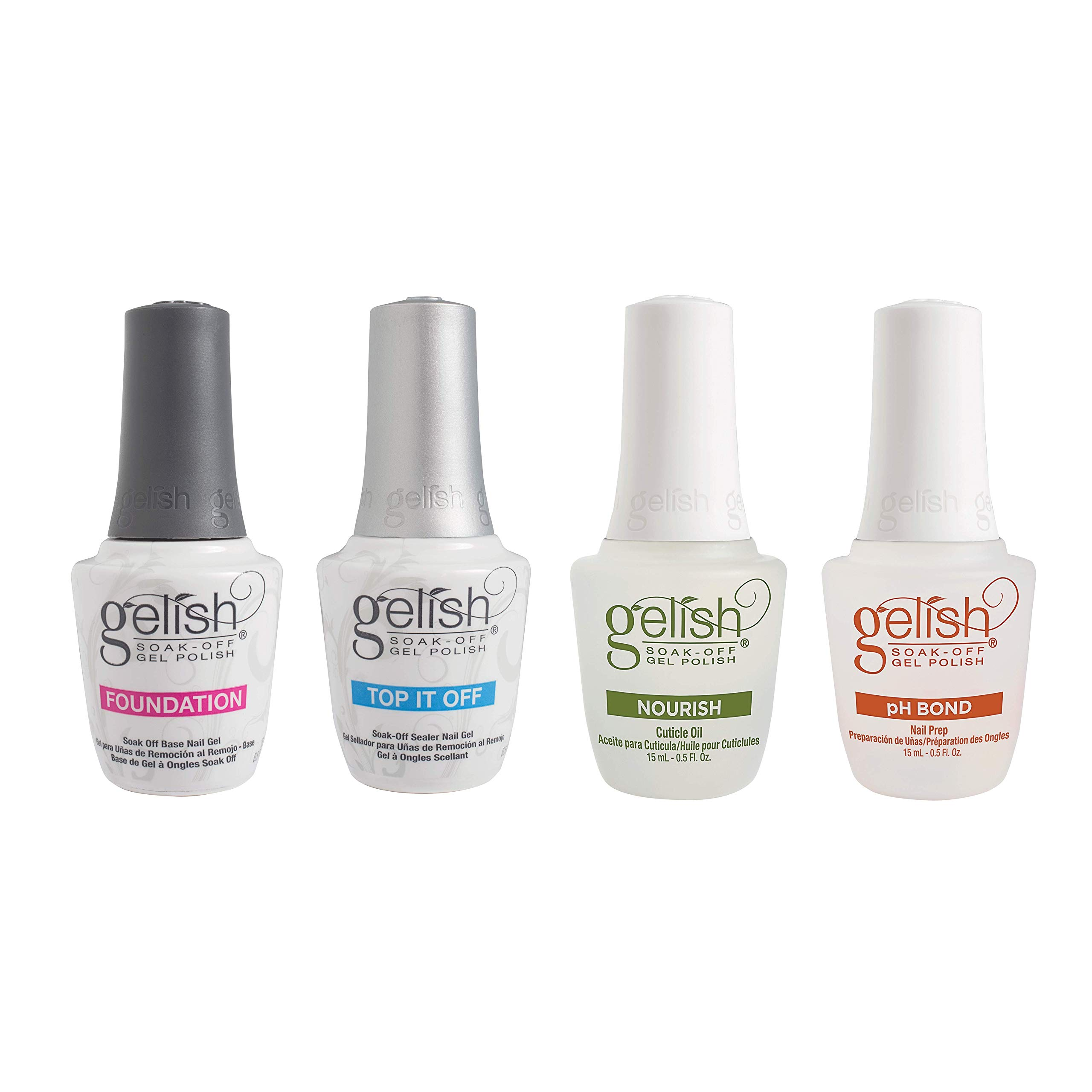 Gelish Fantastic Four Essentials Collection Soak Off Gel Nail Polish Kit, 15 mL by Gelish