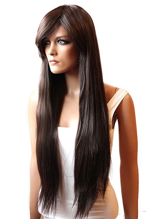 PRETTYSHOP peluca de la peluca pelo largo liso de fibra sintética resistente al calormarrón FZ503