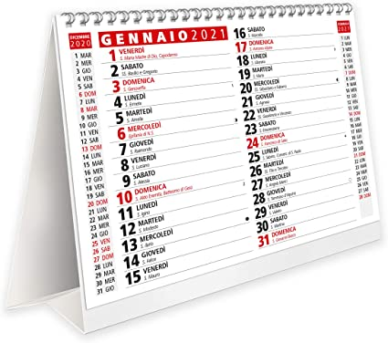 Calendario da Tavolo 2021 con Feste Settimane Lune e Santi