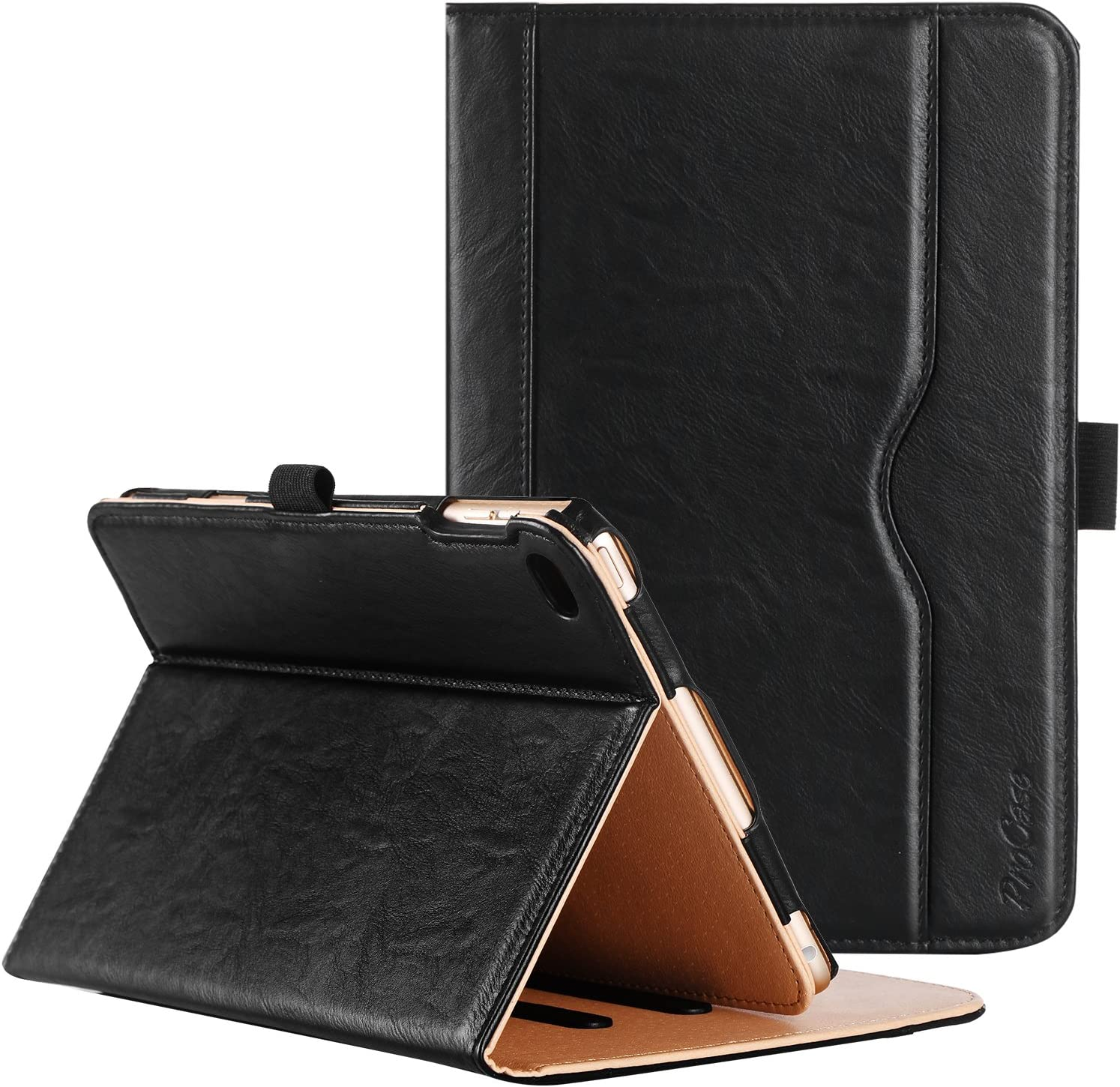 ProCase iPad Mini 4 Case - Leather Stand Folio Case Cover for 2015 Apple iPad Mini 4 (4th Generation iPad Mini, mini4), with Multiple Viewing Angles, auto Sleep/Wake, Document Card Pocket (Black)