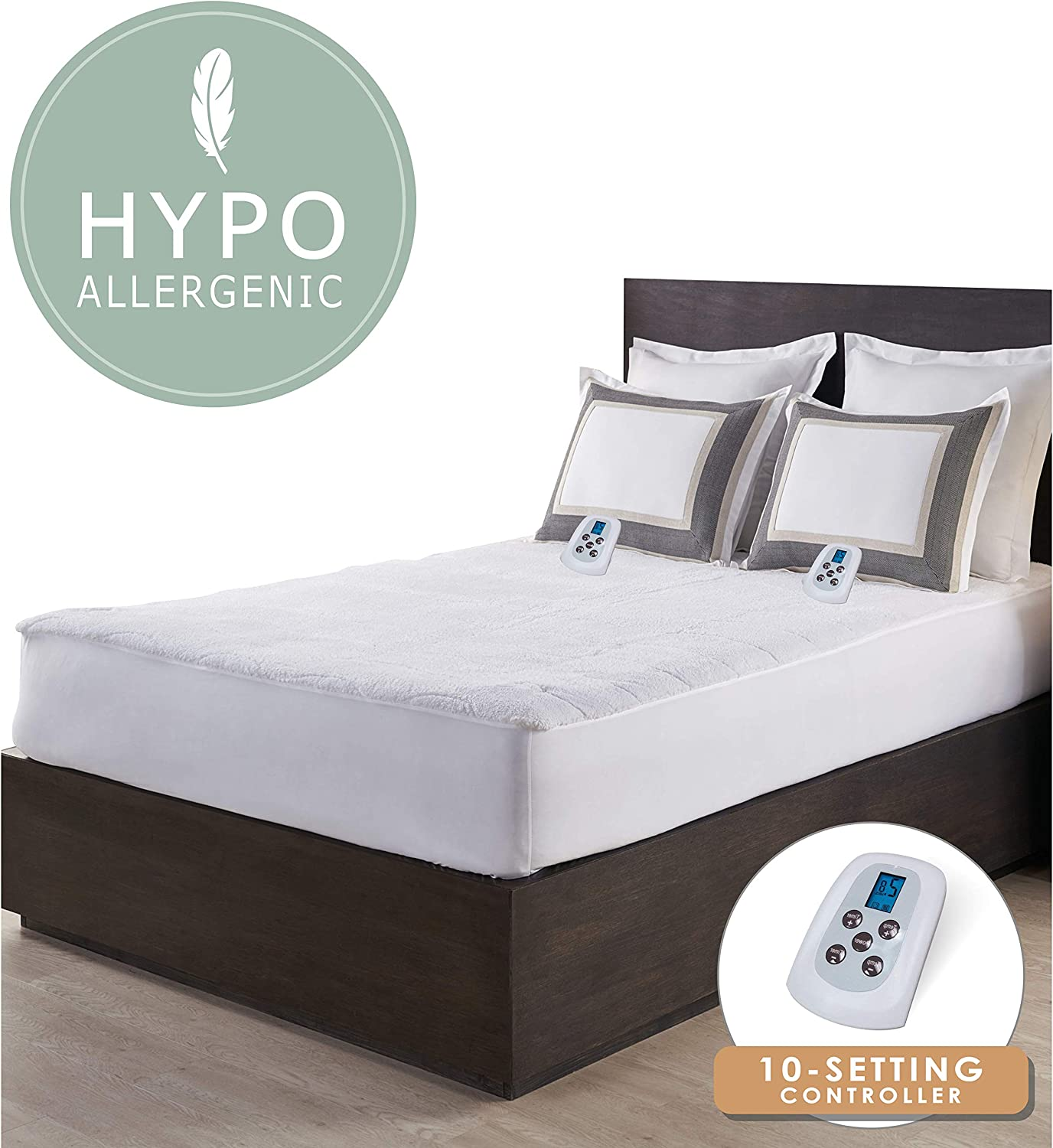 Serta | Luxurious Sherpa Plush Heated Electric Mattress Pad with Hypoallergenic Fill (Full)