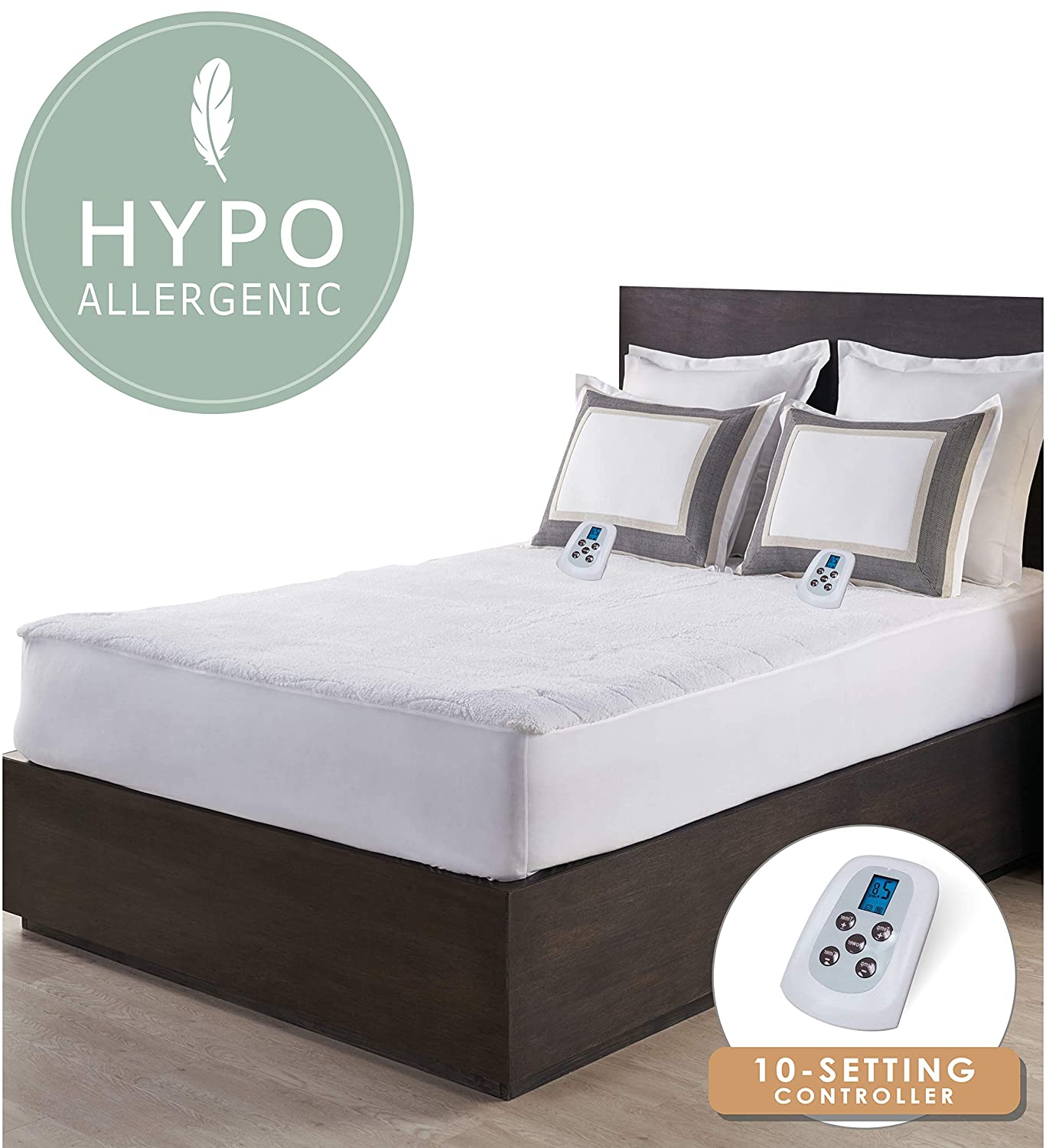 Serta | Luxurious Sherpa Plush Heated Electric Mattress Pad with Hypoallergenic Fill (Queen)