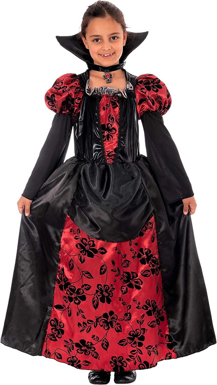 Disfraz de vampiresa para niña, incluye vestido con cuello: Amazon ...