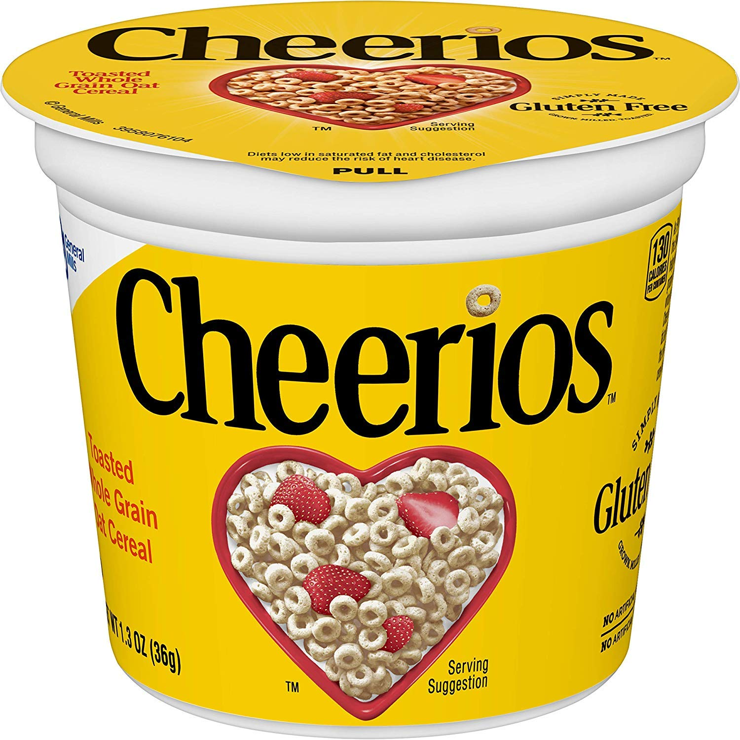Cheerios Cereal Cup, Gluten Free Cereal, 1.3 oz (Pack of 12) (1.3 Ounce (Pack of 12) (2 pack of 12)) by General Mills Cereal