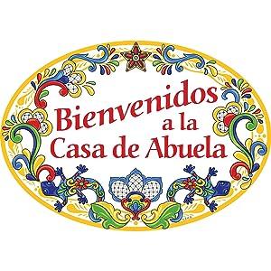 Essence of Europe Gifts E.H.G Bienvenidos a la Casa de Abuela Hispanic Traditional Artwork Spanish Welcome to Grandma's House 11x8 Ceramic Door Sign by E.H.G.