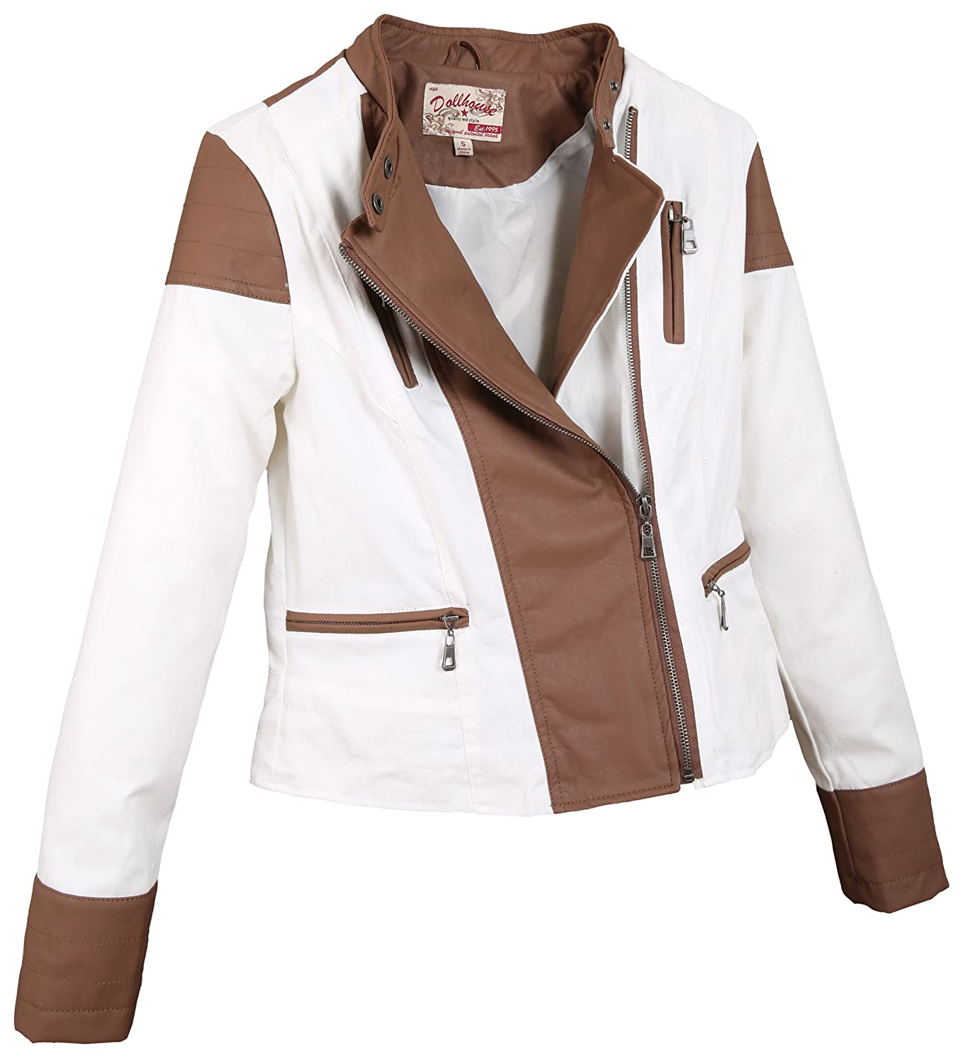 Dollhouse Junior'S Full Zip Leather Trimmed Jacket With Buttoned Mock Neck - Bright White (Small)