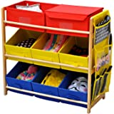 Popamazing Childrens Bedroom 3 Tier Kids Pine Wood Toy Chest Storage Shelf with 8 Canvas Drawers Boxes and 1 Hanging Bags Unit (Red, Yellow&Blue)
