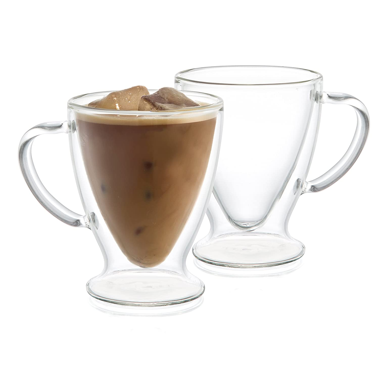 JoyJolt Declan Irish Glass Coffee Cups Double Wall Insulated Mugs Set of 2 Latte Glasses, 10-Ounces. JG10232