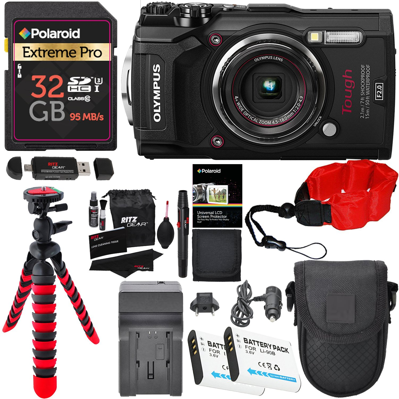 Olympus Tough TG-5 Digital Camera (Black), Polaroid 32GB Memory Card, 2 Spare Batteries, Charger, Ritz Gear Tripod, Camera Case and Accessory Bundle by Ritz Camera
