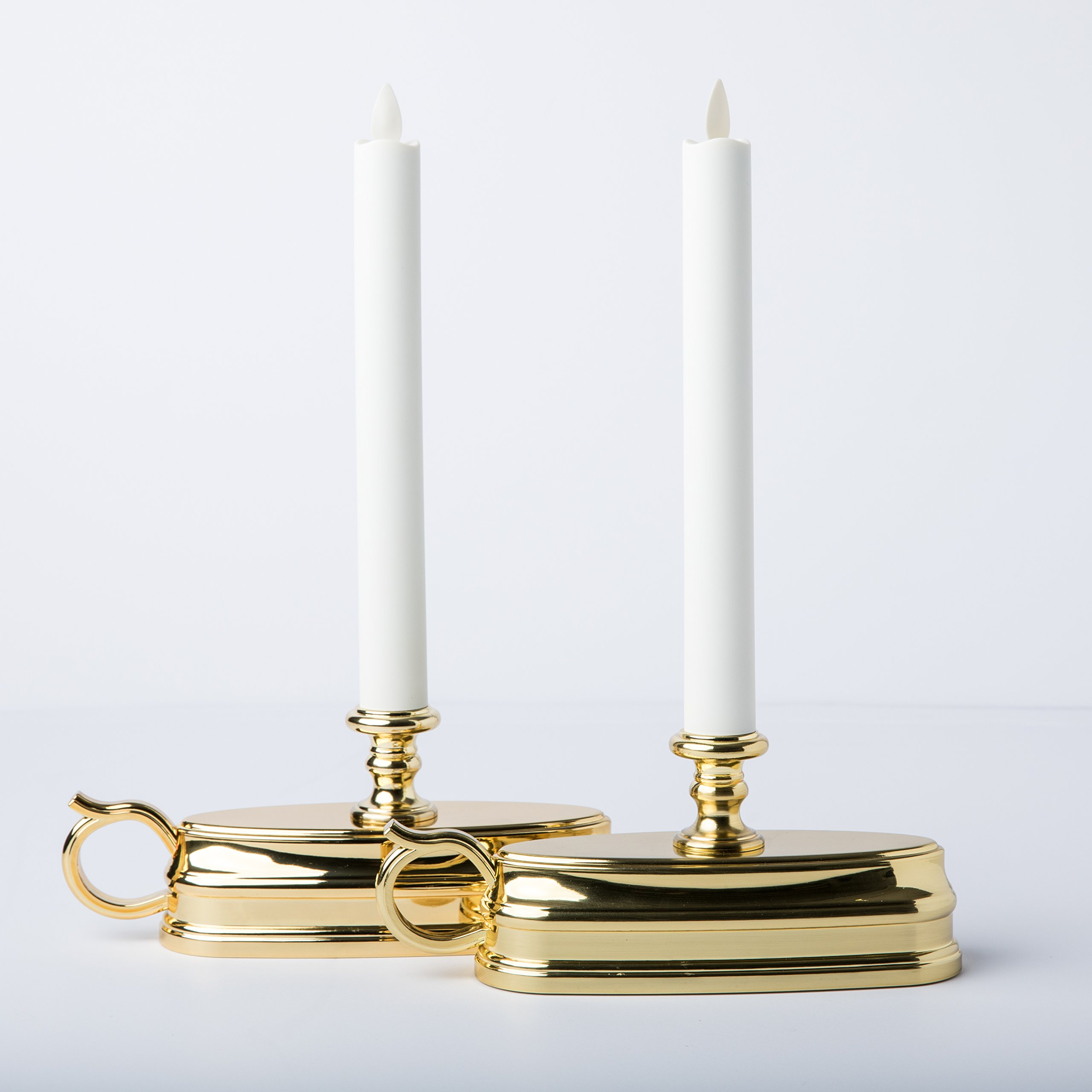 Set of (2) Luminara Colonial Window Candles with Brass Base