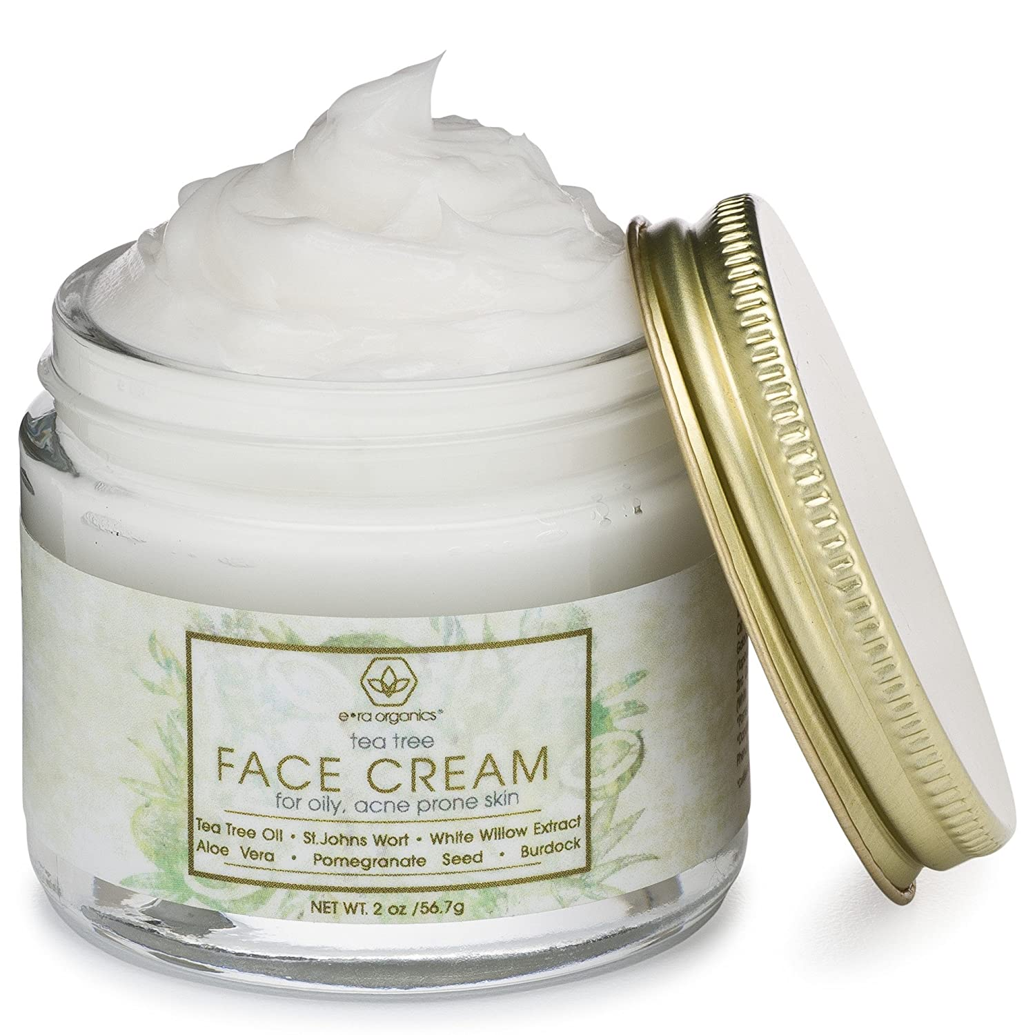 Tea Tree Oil Face Cream – For Oily, Acne Prone Skin Natural Organic Facial Moisturizer with 7X Ingredients For Rosacea, Cystic Acne, Blackheads Redness 2.0oz 56.6g