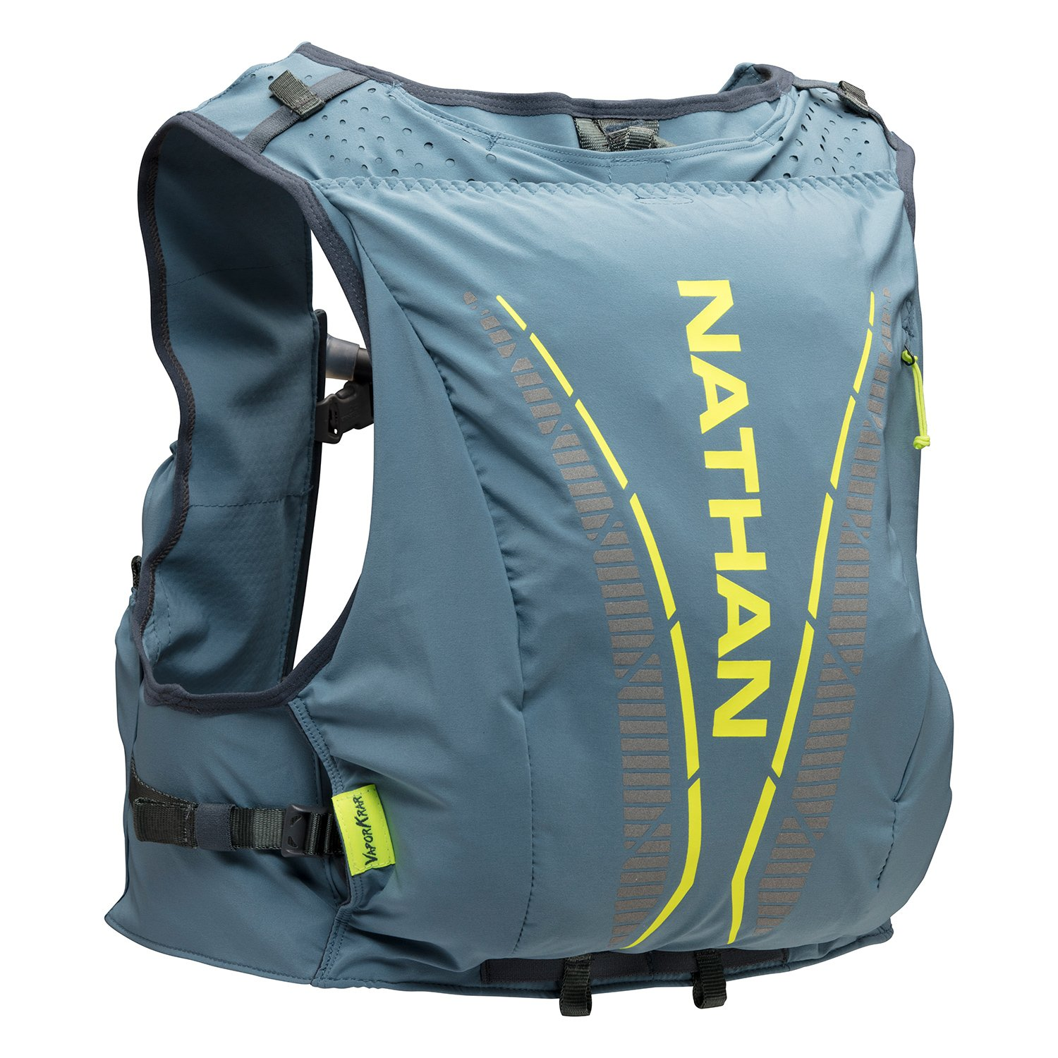 Nathan NS4536 Vaporkrar Hydaration Pack Running Vest with 1.8L Bladder, Blue Stone, Small by Nathan (Image #1)