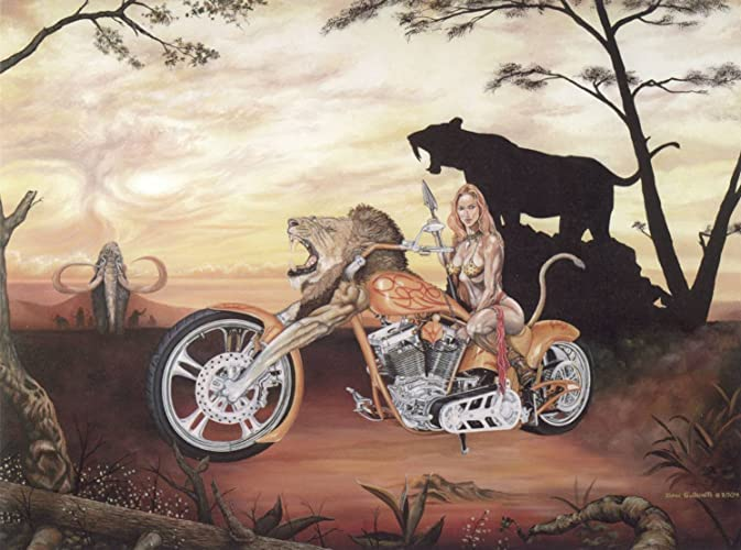 Fantasy Motorcycle Wall Art Print, Lady Biker Lion Chopper, Hand Signed By  Artist