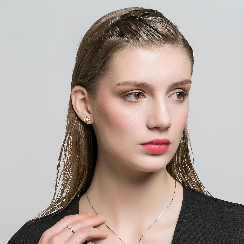 Round Created Opal Stud Earrings Sets 18K Rose Gold Plated Earrings Birthstone for Women Girls 8mm set